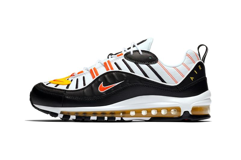 nike air max 98 Black White Chrome Yellow Bright Crimson style 640744 016 orange colorway release halloween candy corn inspired sneakers