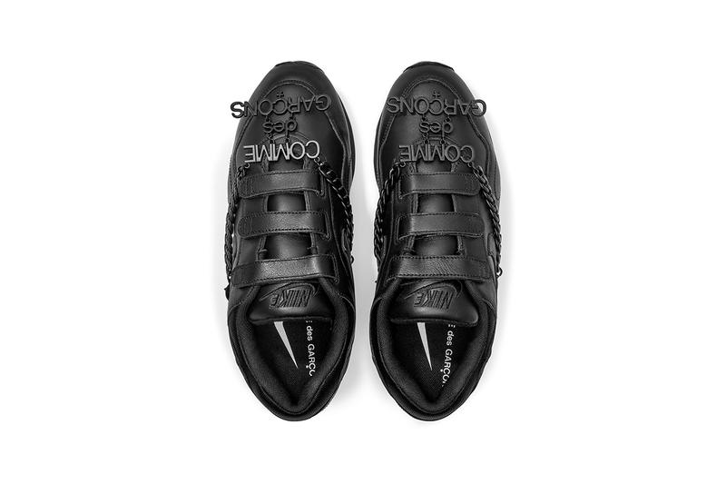 nike comme des garcons rei kawakubo dover street market london outburst black detachable chain buy cop purchase order triple black dunk low shox tl velcro