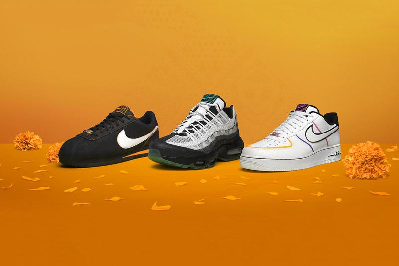 nike day of the dead dia de los muertos halloween air force 1 max 95 cortez black orange white green