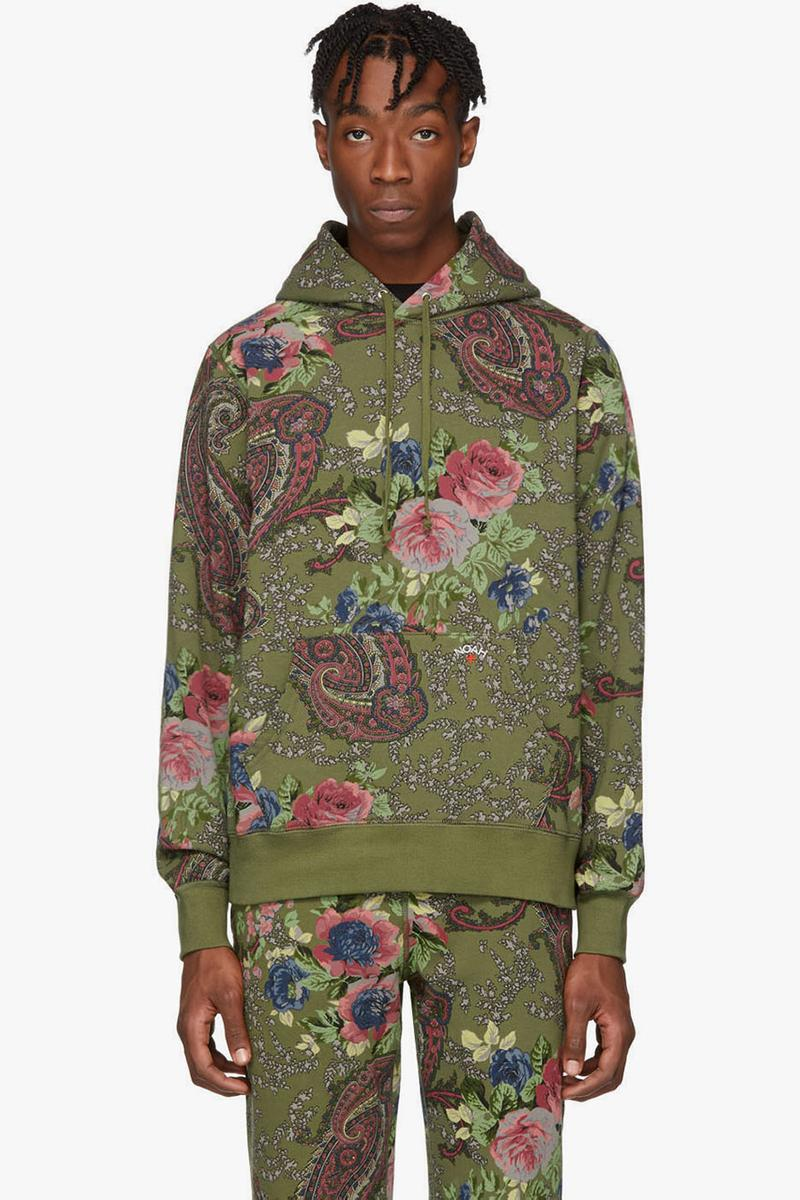 NOAH NYC Fall/Winter 2019 Paisley Collection Green Hoodie Grey Sweater Sweatpants Trackies Pattern Print Classic Design Bold Colors Fleece Lounge Pants Floral SSENSE Cop Where to Buy Online