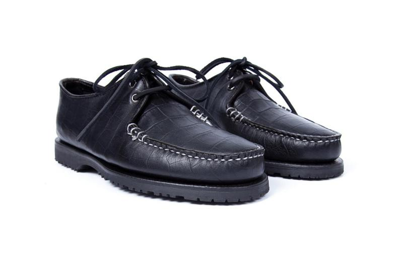 NOAH x Sperry Cloud Captain's Oxford FW19 Croc faux leather skin emboss print made in usa america black brown colorway release date info buy october 31 2019 vibram