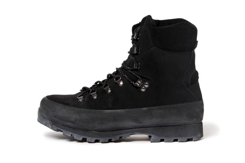 nonnative Fall Winter 2019 Footwear Collection alpinist cow leather boots beige black suede mountaineering trek trail shoes footwear climber vibram sole nubuck