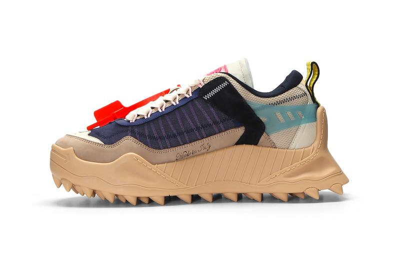 Off White ODSY-1000 Beige Blue footwear sneakers shoes trainers runners virgil abloh spikers cross arrows motifs industrial sports ln cc