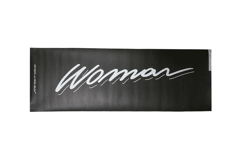 "Off-White™ Yoga Mat Release Information Homeware Design Virgil Abloh Closer Look Branding ""WOMAN"" PVC Fitness Wellness High End Luxury Accessory"