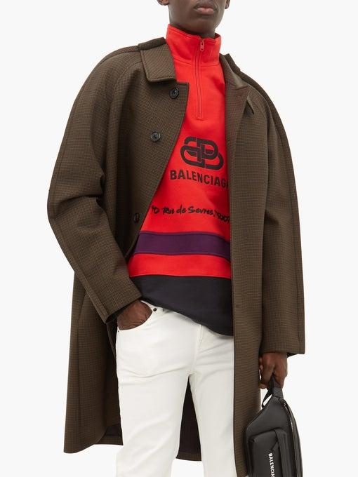 Balenciaga Red Rive Gauche Half-zip Cotton Sweatshirt Release where to buy price release 2019