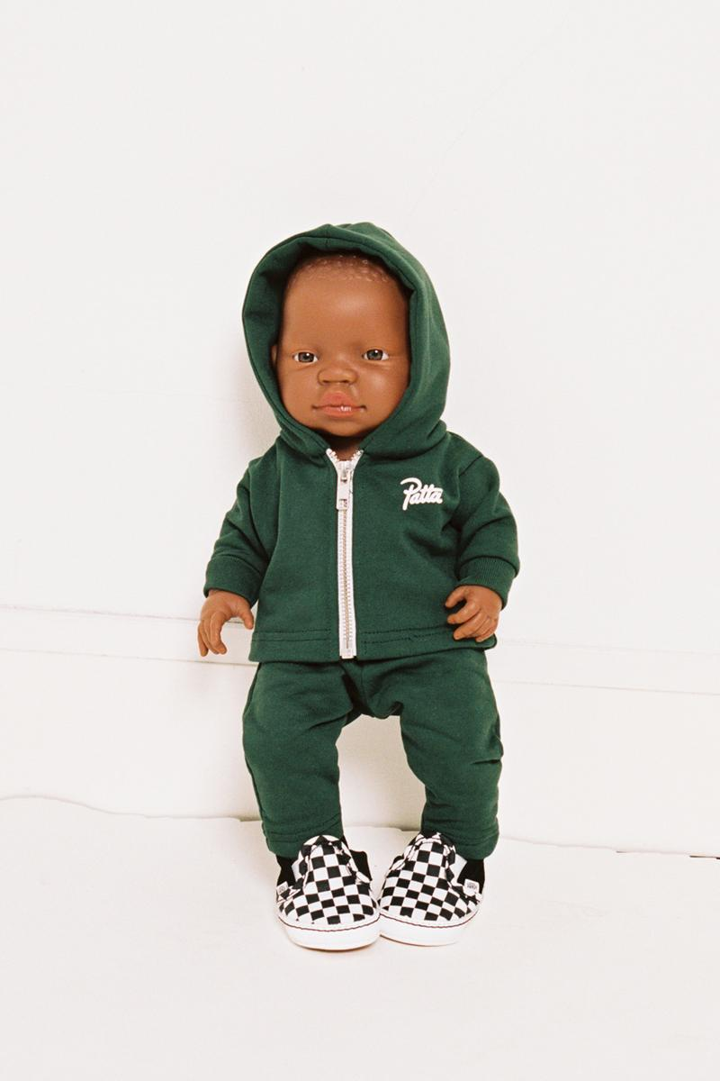 patta coloured goodies afro doll upcycled sweatsuit forest green african black toys