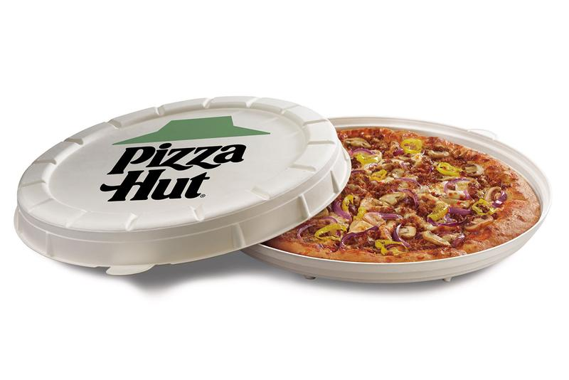 Pizza Hut Plant-Based Sausage and Round Boxes Meatless Sustainability Packaging Design Zume Garden Specialty Pizza Delivery Design