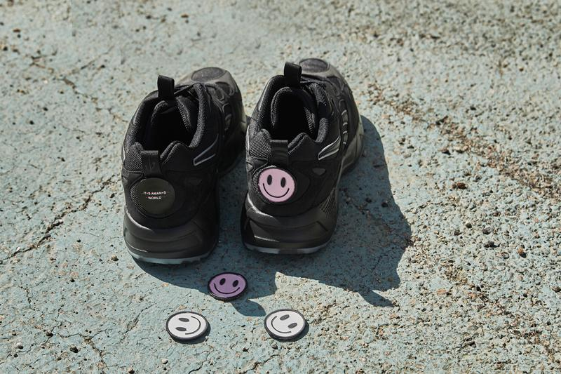 WondaGurl Reebok 'It's a Man's World' Campaign Aztrek 96 Sneakers 3M Black Smiley Face Patches Purple Audio Waves USB