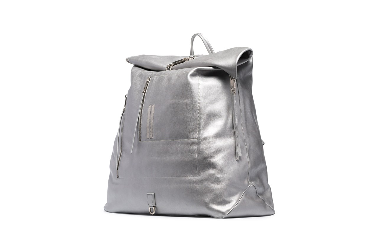 rick owens Silver Oversized Leather Duffle Backpack bookbag metallic release leather duffle fall winter 2019 cotton lining top handle adjustable shoulder straps top zip fastening
