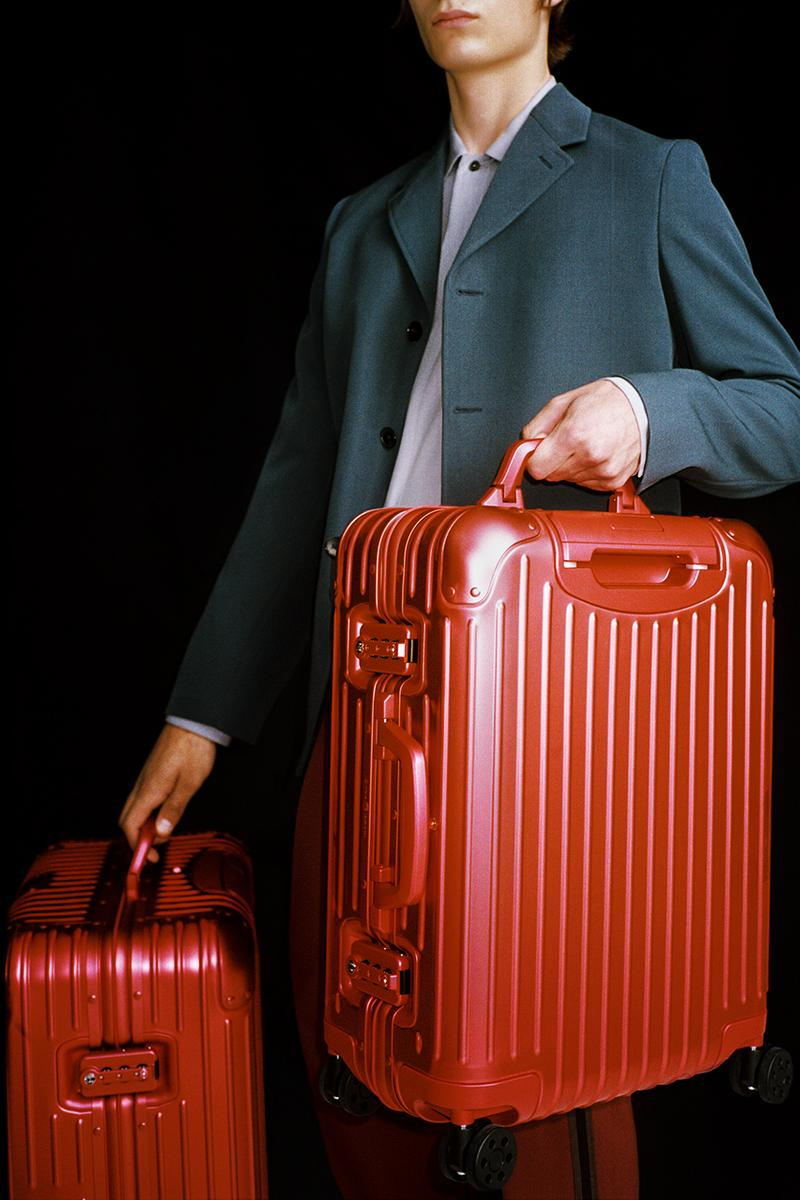 RIMOWA Scarlet and Marine Color Aluminum Suitcases Red Blue Metal Traveling Cabin Cases