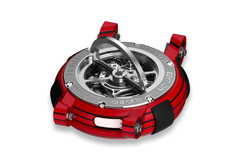 RJ ARRAW 'Spider-Man' Tourbillon Release Information Closer Look Watches Marvel Superhero Swiss Watchmaker Timepiece Interchangeable Strap Black Red Versions 10 Pieces £83,200 GBP