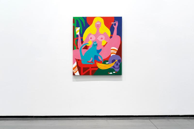 Rose Beton Les Abattoirs Exhibition Cleon Peterson Todd James Tania Mouraud Paintings Installations Red White Black Blue Purple Yellow Pink Green