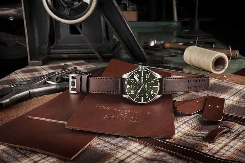 Schott NYC x Hamilton Khaki Pilot Watch Release Information First Look 1940 World War 2 II 1,892 limited edition pieces Military Flight Jackets 30099 Earth Brown watch-strap Super-LumiNova