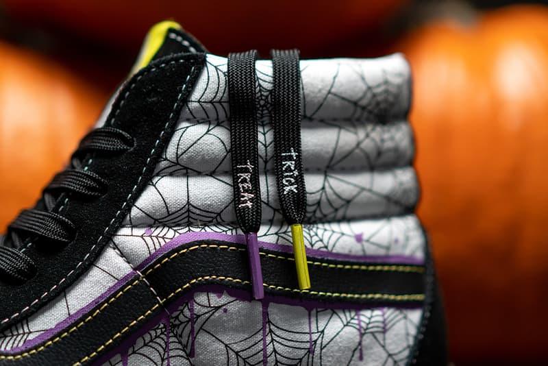 "size? x Vans Sk8-Hi ""Halloween"" Release Information First Look Collaboration Skateboarding Shoe Sneaker OG Archive Design Artwork Spooky Season Spiderwebs Skulls Crossbones Trick or Treat"