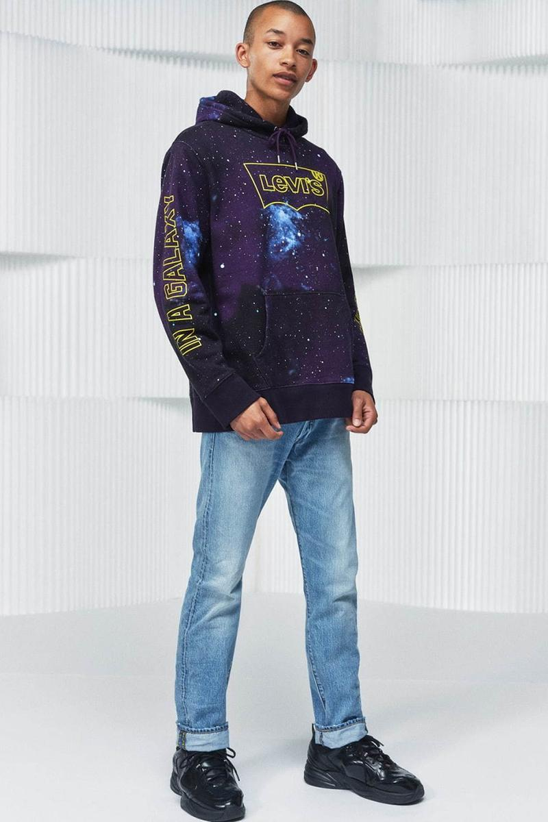 'Star Wars: The Rise of Skywalker' x Levi's FW19 collaboration capsule collection denim jeans 501 trucker jacket hoodie tee shirt long-sleeve chewbacca darth vader c3po r2d2 clothing fall winter 2019 november 1 logo