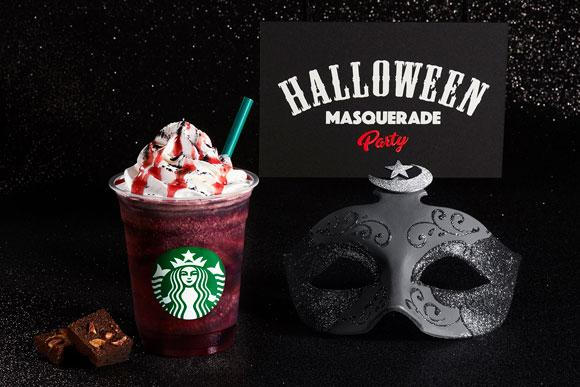 Starbucks Japan Halloween-Themed Beverages Halloween Red Night Frappuccino Halloween Masquerade Raspberry Mocha Dark Night Frappuccino Winged Cup Stands