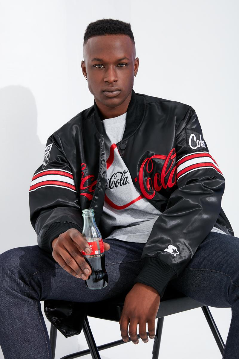 Coca-Cola Starter Black Label Capsule Collection Varsity Satin Jacket Tracksuit Crewneck Sweatshirt T-shirts Sweatpants Hats Wool Black White Red