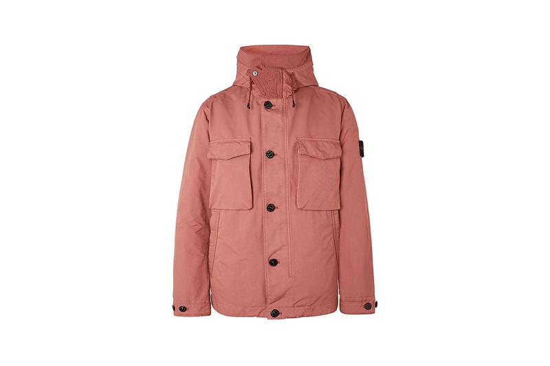 mr porter stone island exclusive spring summer 20 jacket coat parka shearling vest cargo trousers knitwear blush pink cream off white charcoal grey black buy cop purchase