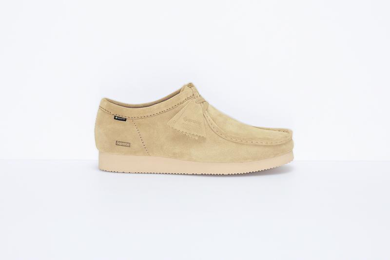 supreme clarks wallabees wallabee low camo black tan vibram gore-tex
