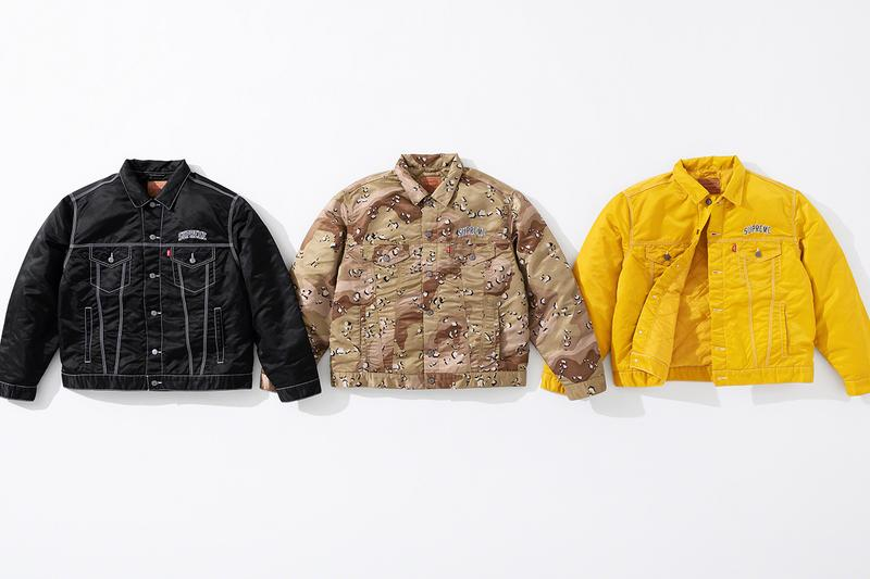 Supreme x Levi's Fall/Winter 2019 Collection Info workwear denim jeans work jackets supreme New York Jackets Nylon Camo Camouflage