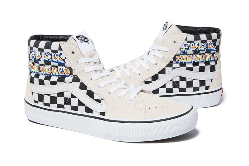 Supreme Vans FW 19 SK8 Hi fuck off flames white black blue yellow cream checkerboard