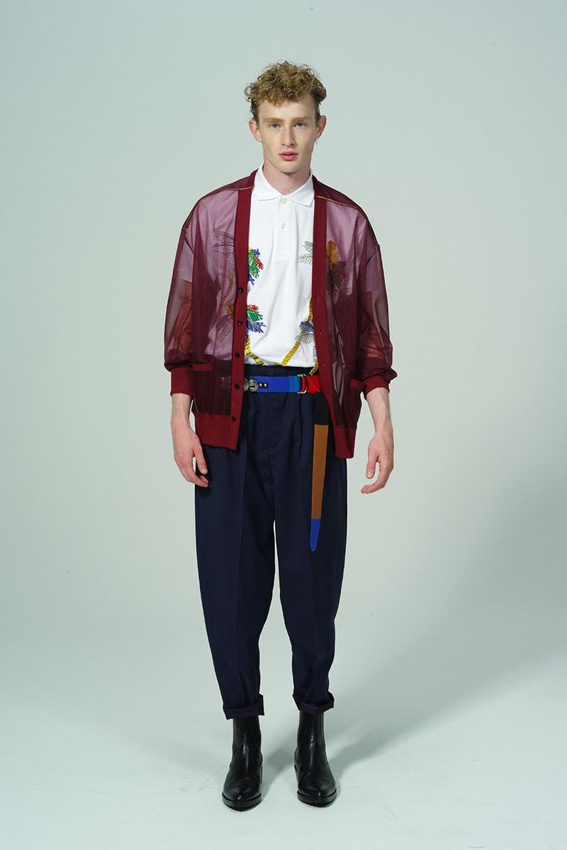 Toga Virilis Spring/Summer 2020 Lookbook Collection Yasuko Furuta Menswear 1950s '50s Inspired Romantic Colors Frills Collars Double Breasted Zazous Suits Blouson Blouse Polo Shirts Rugby Prints Sheer Fabrics