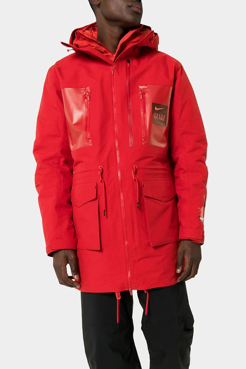 "UNDERCOVER x Nike Red Fishtail Logo Print Parka Down Filled Jun Takahashi ""Chaos Balance"" Swoosh Bright Red Water Resistant Fall Winter 2019 FW19 Outerwear Coats"