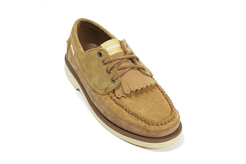 universal works sebago cayuga senica boot boots brown tan vibram soles