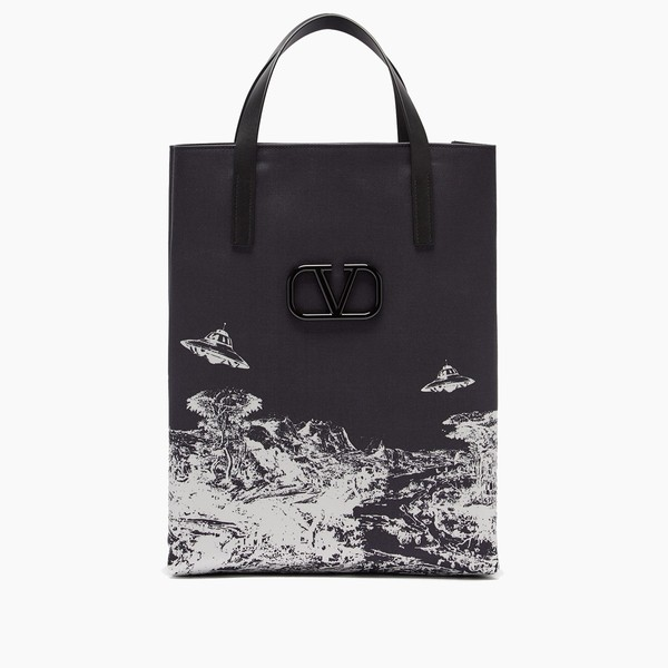 Valentino X Undercover Time Traveller Black Canvas Tote Bag