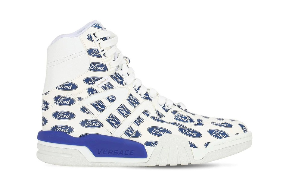 Versace Drops High Top Sneakers With All-Over Ford Print