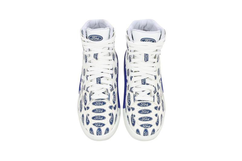 Versace Ford Print High Top Sneakers Leather White Blue Fall/Winter 2019