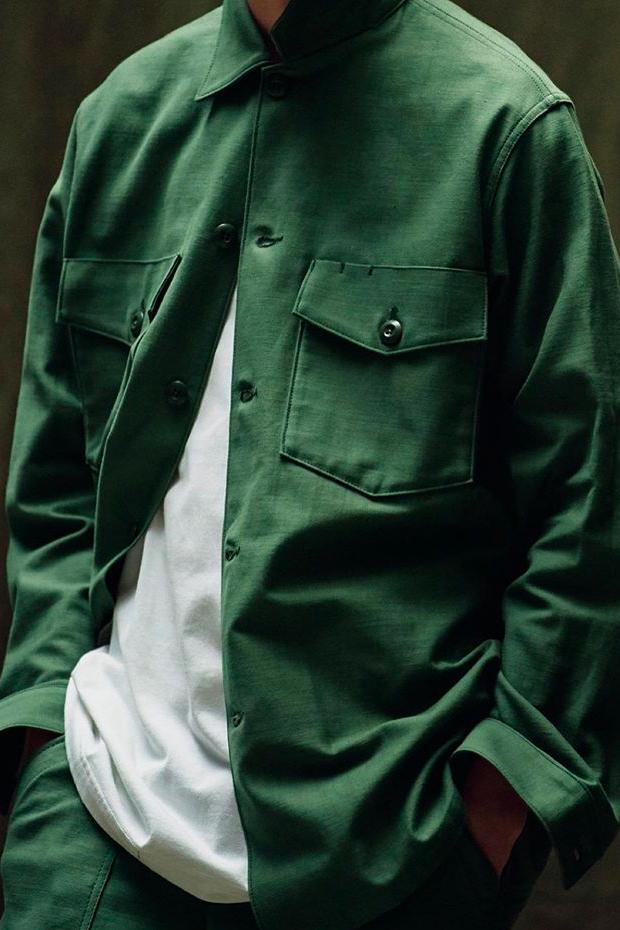 WTAPS MILL UNIFORMS Fall Winter 2019 Lookbook style tetsu nishiyama WMILL 65 JACKET NYCO SATIN olive army surplus military