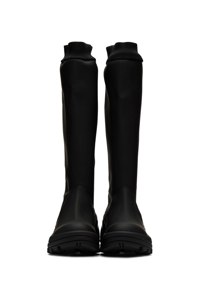 1017 ALYX 9SM Black Fixed Sole Knee Boots 192776M223001 Matthew M. Williams Release Information Wellington Style Fall Winter 2019 Tactical Footwear Rubberized Vibram Outsole