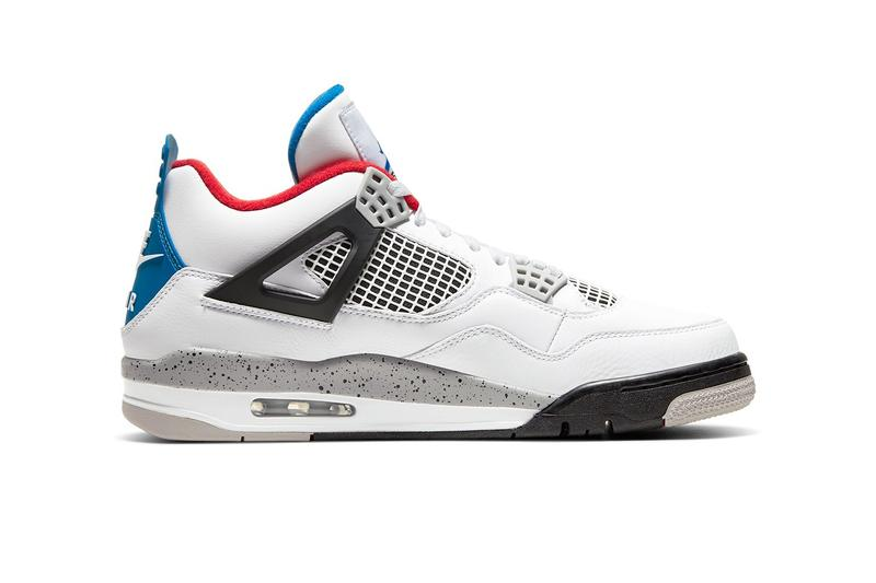 StockX Air Jordan 4 What The White Cement Fire Red Military Blue product code mismatched Jumpman fabric patch tongues inversed insoles with Nike Air logos branded heel labels contrasted outsoles colorblocking sensibilities