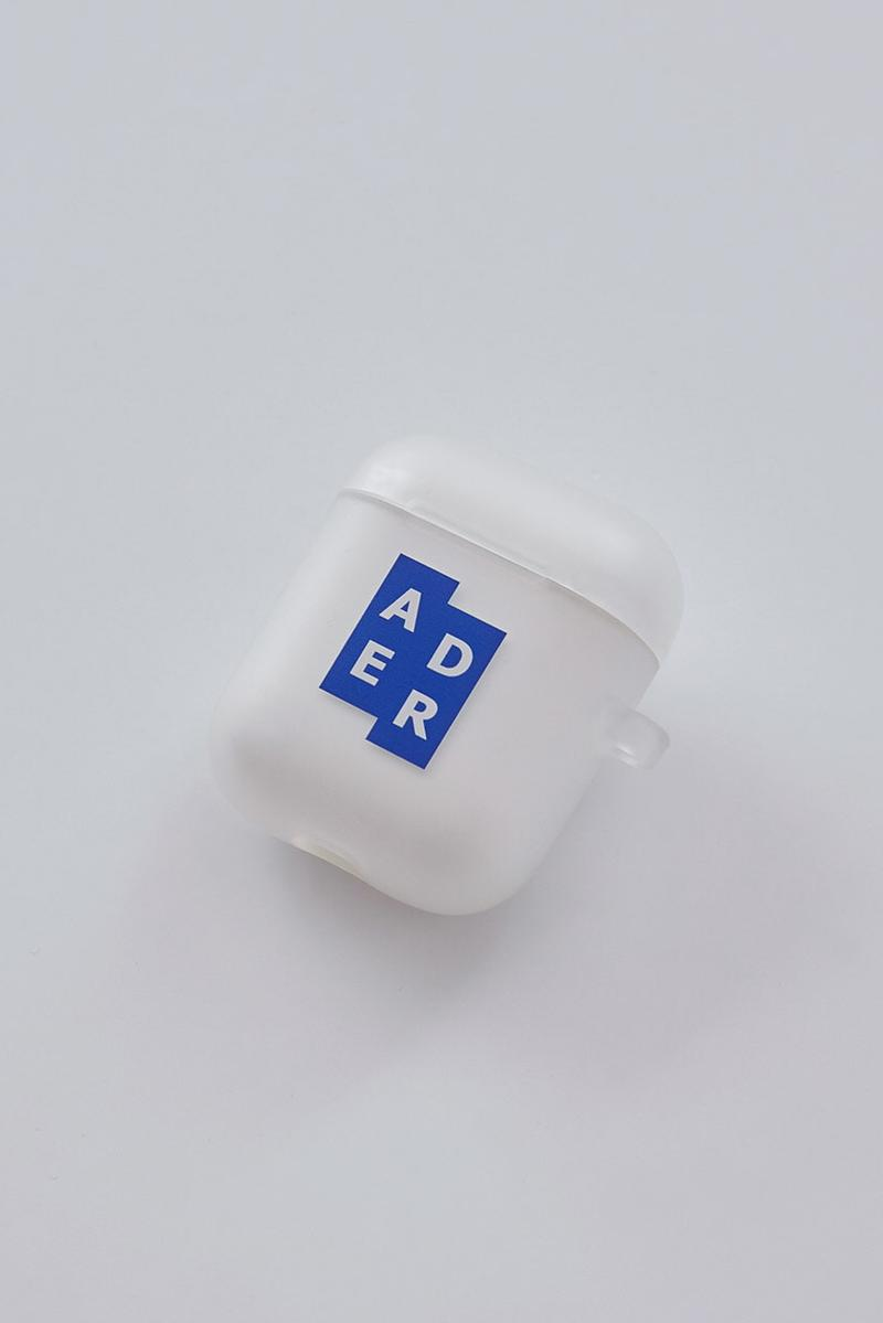 ADER error Airpod Cases Release First Look Translucent Jelly Signature Tetris Logo Brown Leather cinder cutting detail Trouser Ring Attachment Diagonal Branding But Near Missed Things Mainlabel White Clear