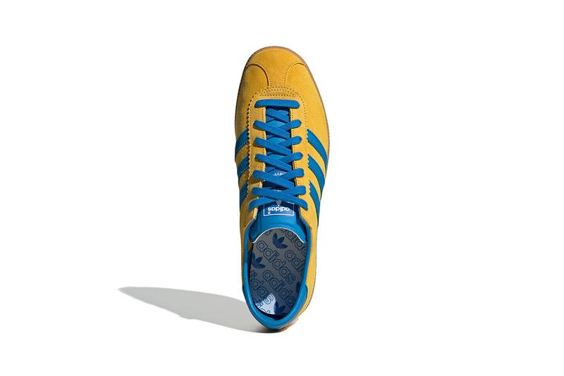 adidas originals malmo city series sweden yellow gold blue bird active foil branding release information archive retro casual sneaker trainer purchase buy cop