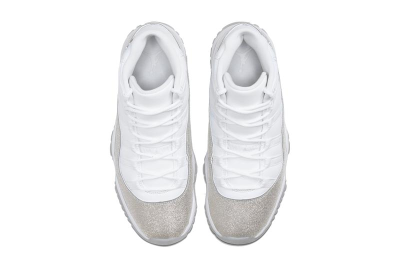 AR0715 100 air jordan brand 11 xi vast grey silver white glitter womens wmns sneakers shoes michael release date november 30 metallic