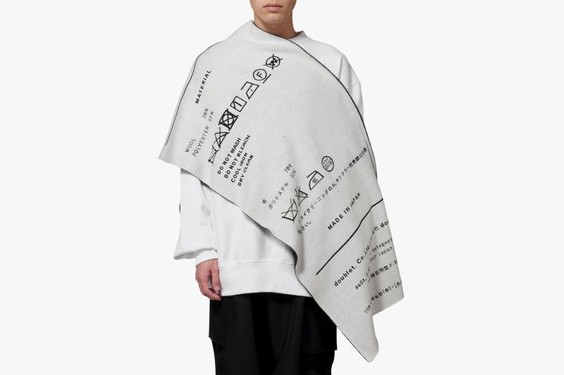 """ANREALAGE Doublet Reversible Scarf Black White Product Tag """"REVERSIBLE BIG TAG MUFFLER"""" Fall/Winter 2019"""