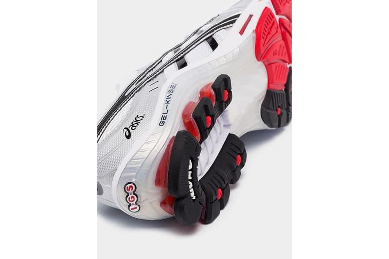 "ASICS GEL-Kinsei OG ""White/Black/Red"" Release Information Cop Online Browns Menswear Footwear Sneakers Japan Original Colorway Silver Impact Guidance System ORTHOLITE sockliner TRUSSTIC SYSTEM"