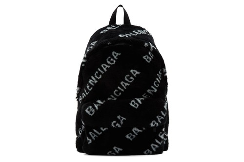 Balenciaga's Faux-Fur Diagonal Everyday Backpack Is Marked by Contrast Logos