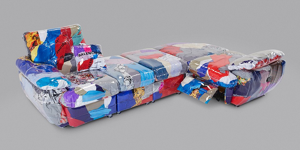 Balenciaga & Harry Nuriev Create Sofa From Discarded Clothing thumbnail