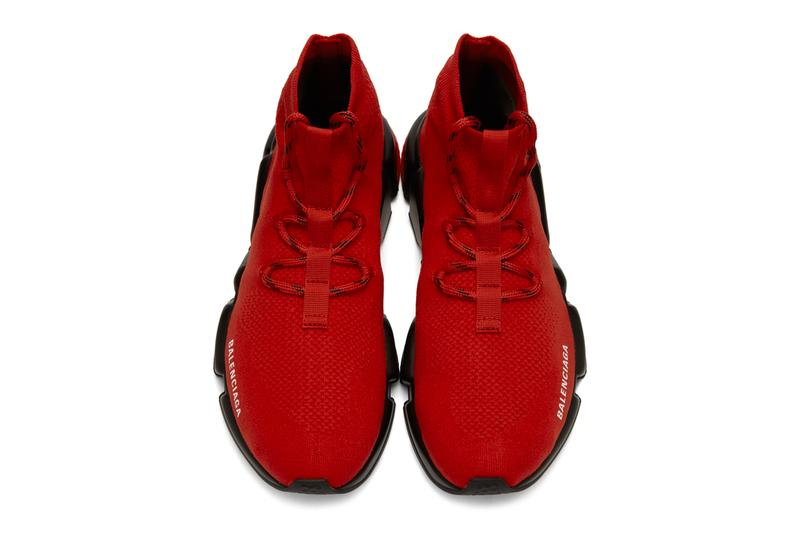 Balenciaga Speed Lace Up Sneakers Red Black Release Info