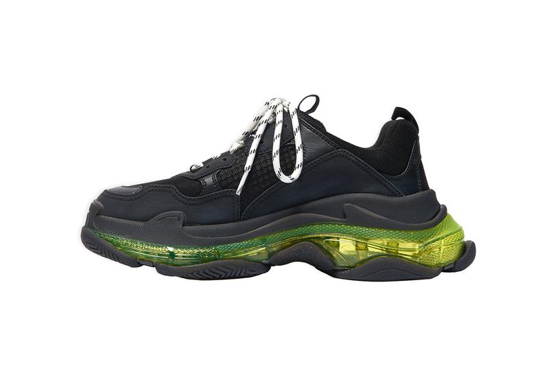 Balenciaga Triple-S Clear Sole Black Neon Yellow Sneaker Trainer Footwear Demna Gvasalia Chunky Vegan Leather-Free Technlogical Three Layers Unit