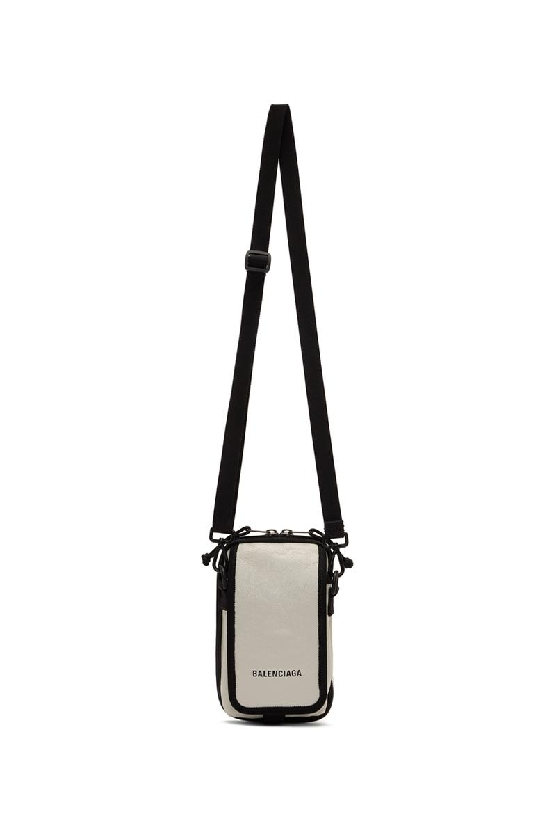 balenciaga white logo explorer pouch release fall winter 2019 white lambskin messenger bag antiqued silver tone hardware Demna Gvasalia FW19 SSENSE Carry Options Mini