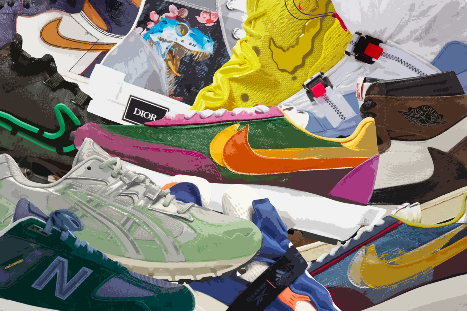 10 ten Best top kicks shoes footwear Sneakers year 2019 nike sb air jordan brand reebok adidas asics new balance salomon palace bape ultraboost boost a bathing ape skateboards speedcross 4 aime leon dore 990 990v5 1  travis scott cactus jack la to chicago awake ny asics gel kayano 5 360 bodega 997 cactus plant flea market vapormax Hajime Sorayama Dior B23 Instapump Fury Boost sacai ldwaffle waffle SpongeBob SquarePants kyrie 5 tom sachs mars yard overshoe
