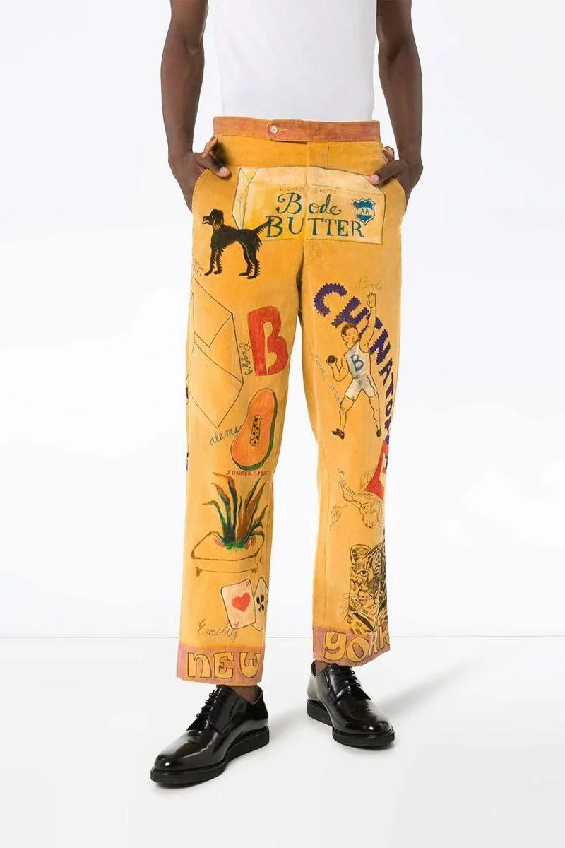 Bode Multicolored Corduroy Pants Release Info price drop date butter vintage graphics brown tan mustard  MST060C-01904 the webster buy now price size style pockets childhood motifs 30 32 34