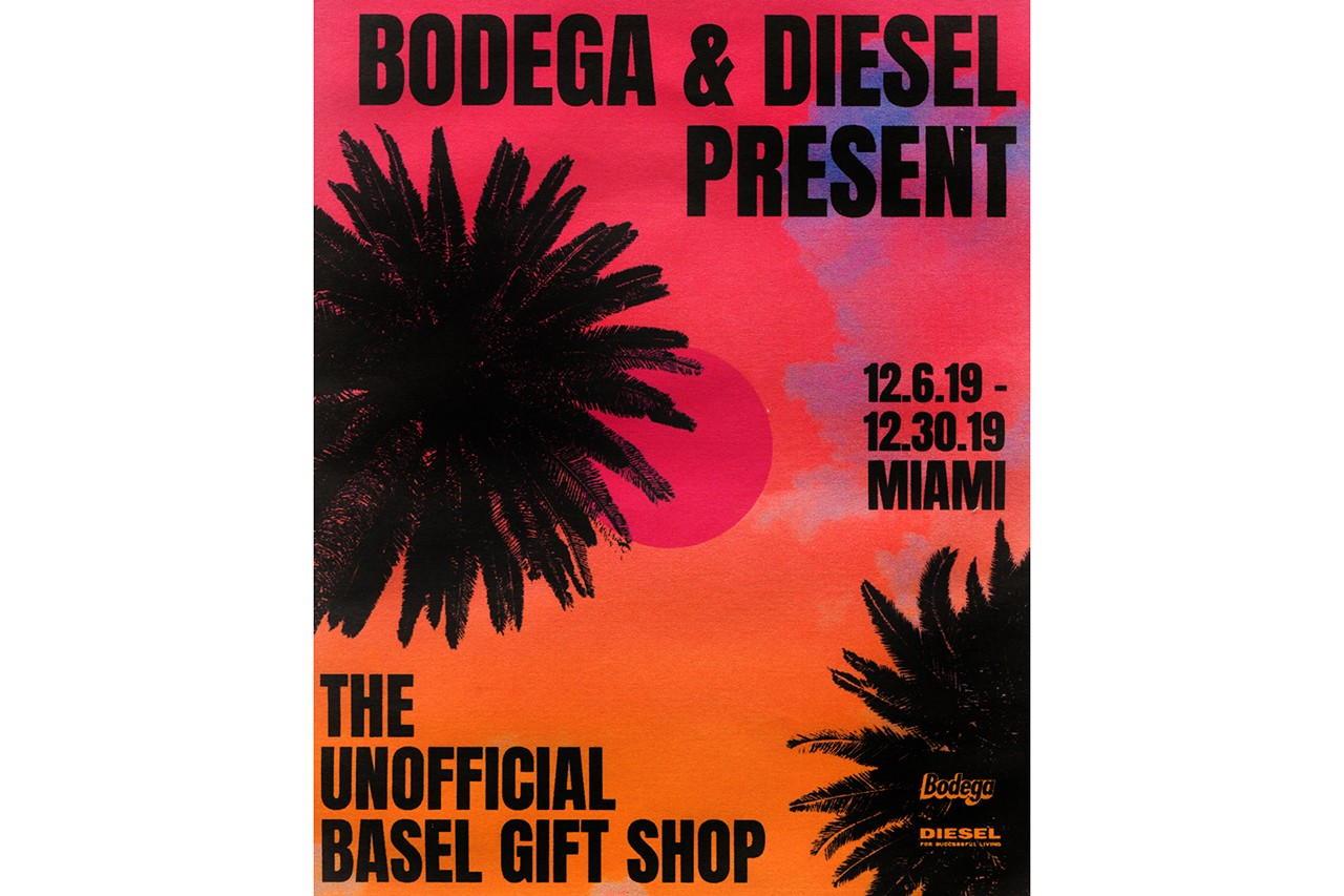 Bodega x Diesel Art Basel Miami Gift Shop Pop-Up unofficial event a cold wall eric emanuel exclusive drop denim december 2019 music dj radio ESTA, Towfu, Yellowtech, Where's Nasty, and Smino lqqk studios