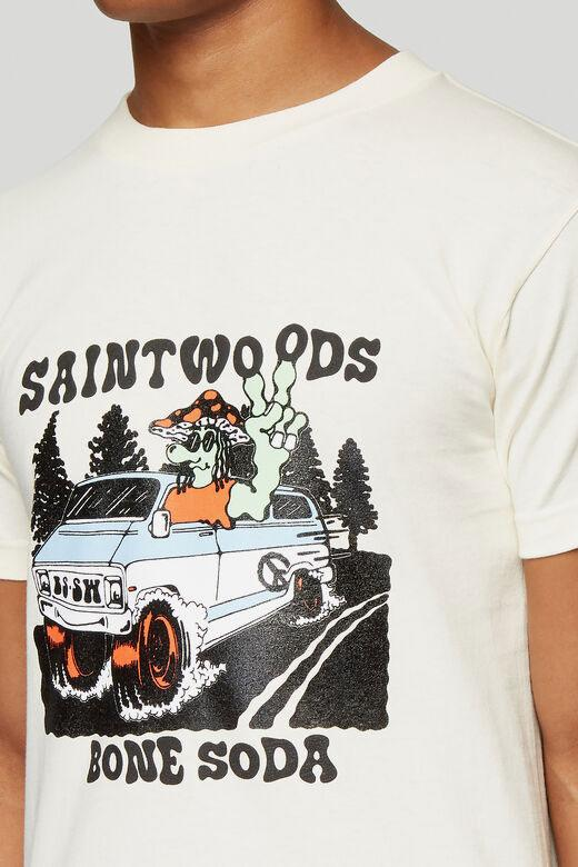 SAINTWOODS x Bone Soda Capsule Collection LN-CC The Beware Of Snakes Hooded Sweatshirt Black White Bumper Sticker Longsleeve Blue Tour T-Shirt Beige
