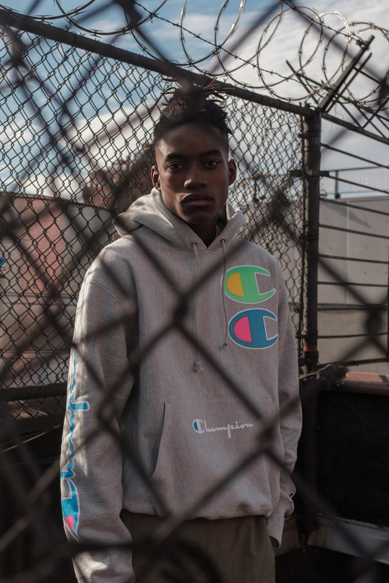 Champion Cyber Monday Capsule Collection Amazon Reverse Weave Crew 100 year anniversary on-trend prints heavily branded crewnecks/hoodies new innovative design styles tech-forward garments high-vis coloring ombre hued color options crewnecks sweatshirts hoodies