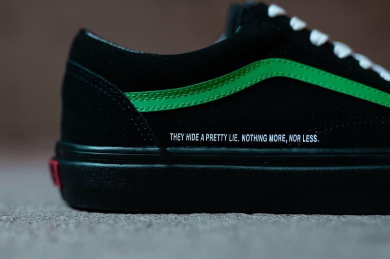 coutie vans old skool nightmare society sneakers collaboration release november 2019 black suede upper green sidestripe snake logo print